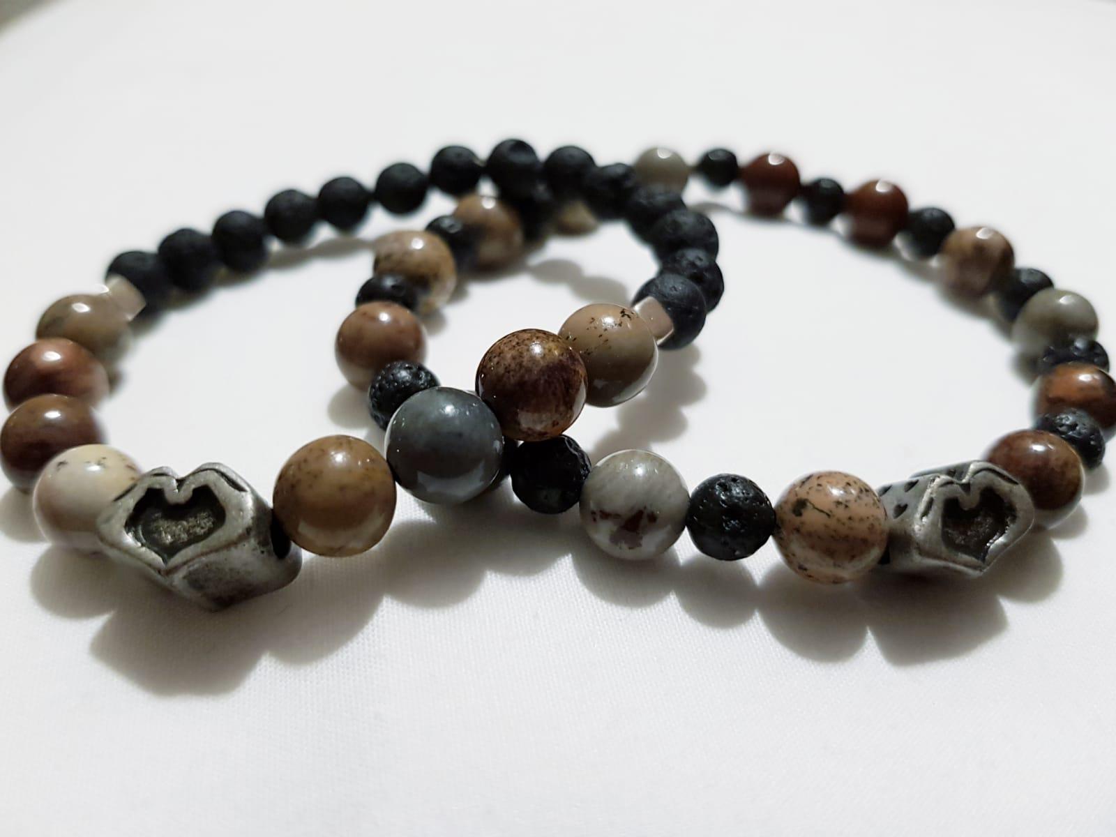 f96542c3d10a98 Uomo: Bracciale con pietre dure multi color